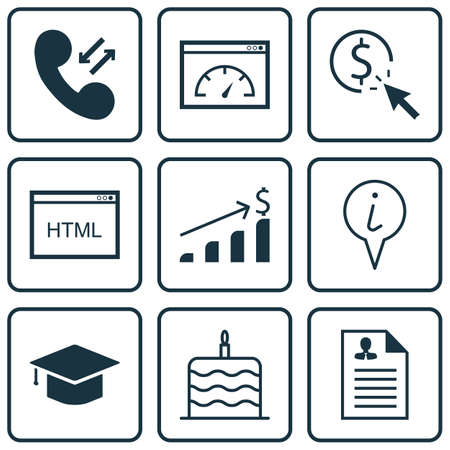 roaming: Set Of 9 Universal Editable Icons. Can Be Used For Web, Mobile And App Design. Includes Icons Such As Info Pointer, Celebration Cake, Loading Speed And More.