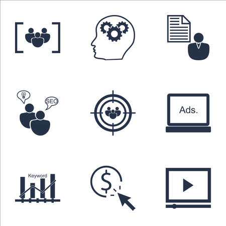 optimisation: Set Of SEO Icons On SEO Brainstorm, Report And Keyword Optimisation Topics. Editable Vector Illustration. Includes Target, Digital And Focus Vector Icons.