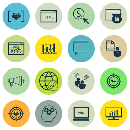 Set Of Marketing Icons On Coding, Website Performance And Market Research Topics. Editable Vector Illustration. Includes Performance, Display And Bulding Vector Icons.