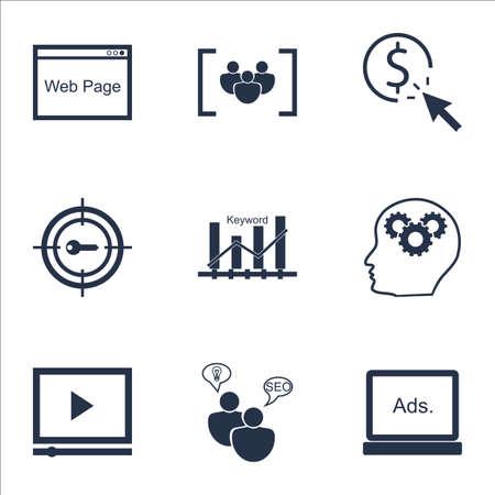 optimisation: Set Of Marketing Icons On SEO Brainstorm, Video Player And Keyword Optimisation Topics. Editable Vector Illustration. Includes Research, Click And Ranking Vector Icons. Illustration