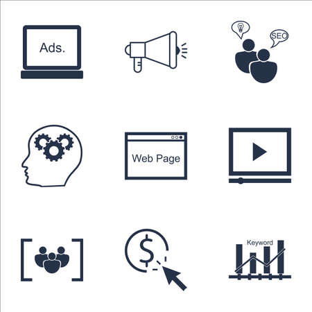 ppc: Set Of Marketing Icons On SEO Brainstorm, Questionnaire And PPC Topics. Editable Vector Illustration. Includes Viral, Plan And Advertising Vector Icons.