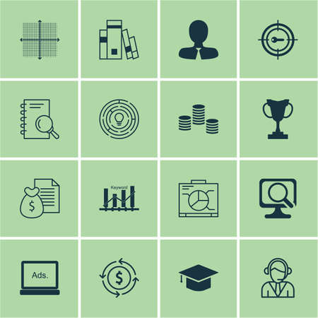 tournament chart: Set Of 16 Universal Editable Icons. Can Be Used For Web, Mobile And App Design. Includes Icons Such As Money Recycle, Operator, Graduation And More.