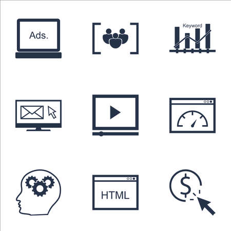 optimisation: Set Of Marketing Icons On Keyword Optimisation, Video Player And Loading Speed Topics. Editable Vector Illustration. Includes Display, HTML And Email Vector Icons.