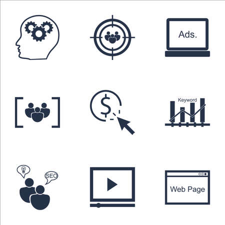 ppc: Set Of Advertising Icons On PPC, Website And SEO Brainstorm Topics. Editable Vector Illustration. Includes Digital, Video And Click Vector Icons.