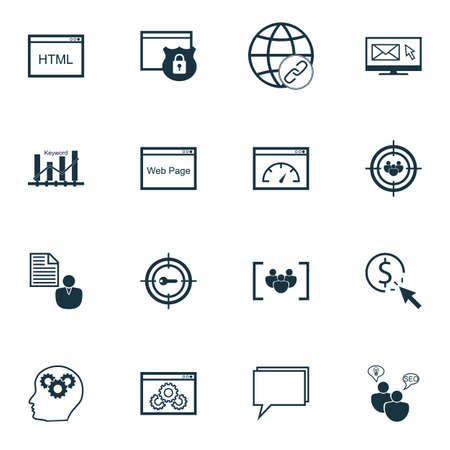 bulding: Set Of Advertising Icons On Newsletter, Focus Group And SEO Brainstorm Topics. Editable Vector Illustration. Includes Bulding, Brief And Optimization Vector Icons.