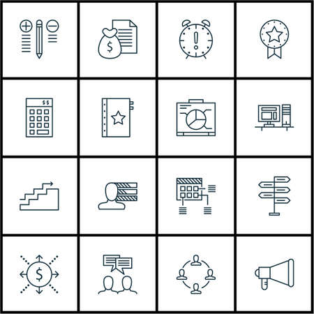 engineering icon: Set Of Project Management Icons On Announcement, Board And Time Management Topics. Editable Vector Illustration. Includes Goal, Badge And Fork Vector Icons.