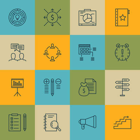 job satisfaction: Set Of Project Management Icons On Announcement, Schedule And Decision Making Topics. Editable Vector Illustration. Includes Management, Team And Brainstorming Vector Icons.