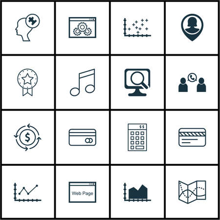 Set Of 16 Universal Editable Icons. Can Be Used For Web, Mobile And App Design. Includes Icons Such As Present Badge, Website, Website Performance And More.