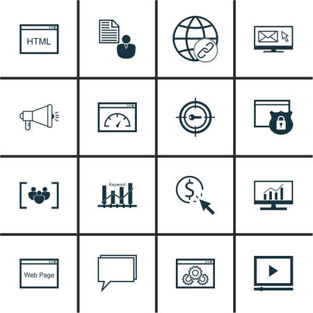 Set Of Marketing Icons On PPC, Video Player And Market Research Topics. Editable Vector Illustration. Includes Pay, Matching And HTML Vector Icons. Illustration