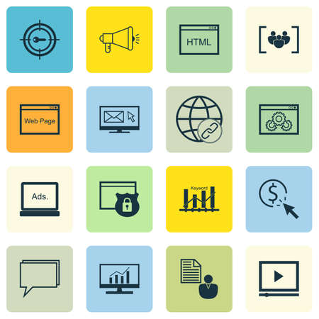 ppc: Set Of 16 Universal Editable Icons. Can Be Used For Web, Mobile And App Design. Includes Icons Such As Market Research, Website Performance, PPC And More. Illustration