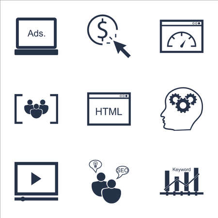 keyword: Set Of Advertising Icons On Keyword Optimisation, Coding And Video Player Topics. Editable Vector Illustration. Includes Ranking, Display And HTML Vector Icons.