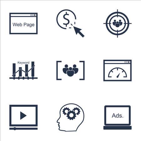 optimisation: Set Of Advertising Icons On Keyword Optimisation, Digital Media And PPC Topics. Editable Vector Illustration. Includes Keyword, Pay And Optimization Vector Icons.