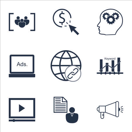 thinking link: Set Of Advertising Icons On Keyword Optimisation, PPC And Report Topics. Editable Vector Illustration. Includes Click, Advertising And Businessman Vector Icons. Illustration