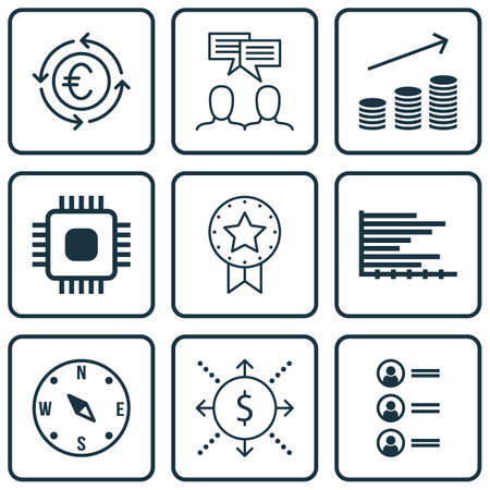 Set Of 9 Universal Editable Icons. Can Be Used For Web, Mobile And App Design. Includes Icons Such As Discussion, Money, Bars Chart And More. Vettoriali