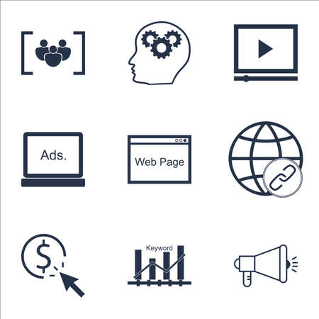 bulding: Set Of Advertising Icons On Video Player, Brain Process And PPC Topics. Editable Vector Illustration. Includes Creativity, Focus And Bulding Vector Icons. Illustration