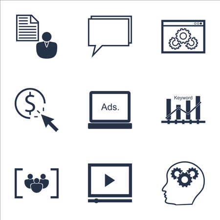 optimisation: Set Of Marketing Icons On Keyword Optimisation, PPC And Video Player Topics. Editable Vector Illustration. Includes Group, Brief And Click Vector Icons. Illustration