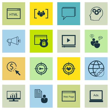 Ensemble d'icônes marketing sur le site Web, de conférence et Sujets Video Player. Editable Vector Illustration. Inclut la page, Google Analytics et le cerveau vecteur icônes.