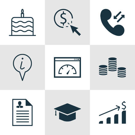 Set Of 9 Universal Editable Icons. Can Be Used For Web, Mobile And App Design. Includes Icons Such As Successful Investment, Money, Loading Speed And More.
