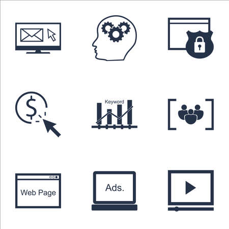 website security: Set Of Marketing Icons On Security, Video Player And Brain Process Topics. Editable Vector Illustration. Includes Website, Security And Brain Vector Icons.
