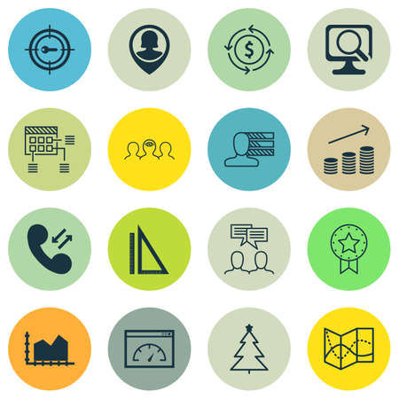 Set Of 16 Universal Editable Icons. Can Be Used For Web, Mobile And App Design. Includes Icons Such As Laptop, Present Badge, Sequence Graphics And More.