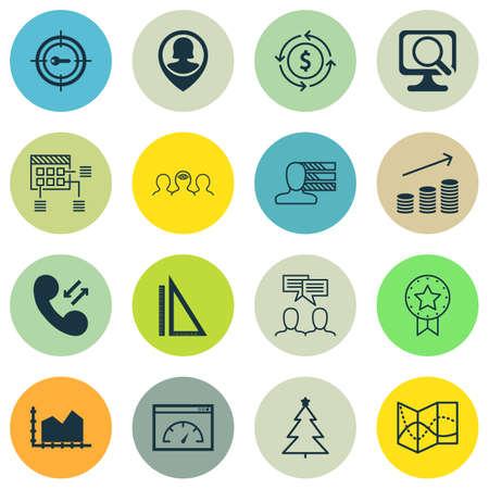 Ensemble de 16 icônes modifiables universelles. Peut être utilisé pour le Web, Mobile et App Design. Comprend des icônes telles qu'un ordinateur portable, un badge présent, des graphiques de séquence, etc.