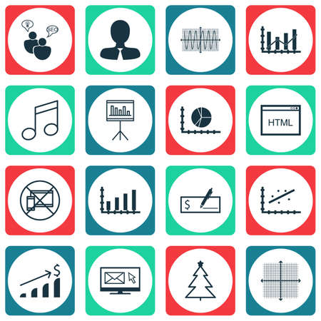 Set Of 16 Universal Editable Icons. Can Be Used For Web, Mobile And App Design. Includes Icons Such As Coding, Dynamics, Decorated Tree And More.