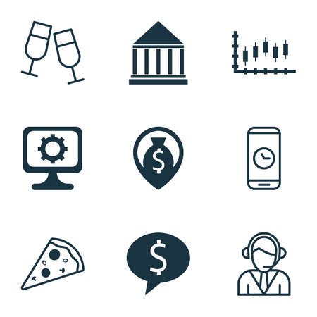 roaming: Set Of 9 Universal Editable Icons. Can Be Used For Web, Mobile And App Design. Includes Icons Such As Champagne Glasses, PC, Education Center And More.