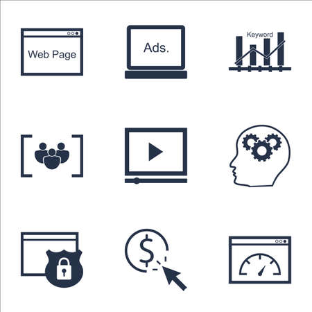Set Of Marketing Icons On PPC, Loading Speed And Brain Process Topics. Editable Vector Illustration. Includes Plan, Speed And Protected Vector Icons.