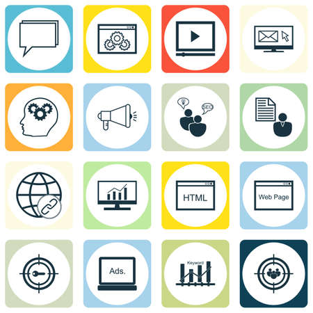 brain research: Set Of SEO Icons On Conference, Media Campaign And Coding Topics. Editable Vector Illustration. Includes Brain, Research And Browser Vector Icons. Illustration