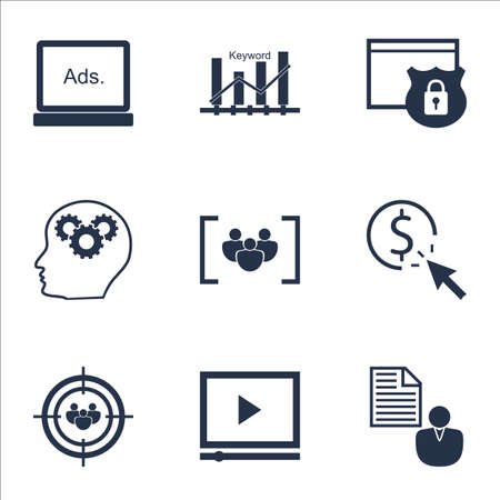 optimisation: Set Of Marketing Icons On Keyword Optimisation, Video Player And Digital Media Topics. Editable Vector Illustration. Includes Per, Website And Optimization Vector Icons. Illustration