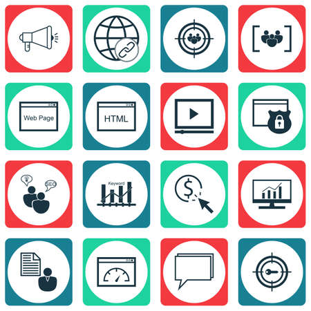 Set Of SEO Icons On Media Campaign, Loading Speed And Questionnaire Topics. Editable Vector Illustration. Includes Ranking, Code And Page Vector Icons.