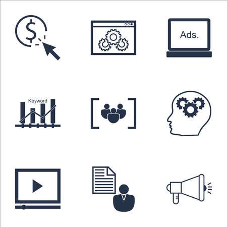 SEO のウェブサイトのパフォーマンス、ビデオ プレーヤー、キーワードの最適化のトピックのアイコンのセットです。編集可能なベクター イラスト