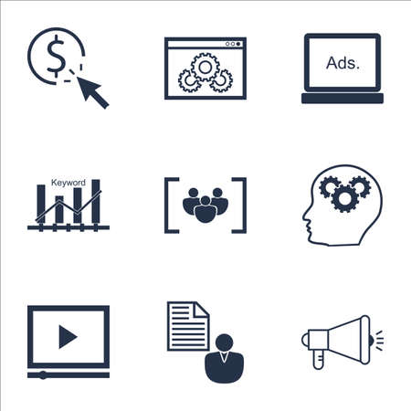 Set von SEO Icons auf Website-Performance, Video Player und Keyword-Optimierung Themen. Bearbeitbare Vektor-Illustration. Enthält Klick, Community und Marketing-Vektor-Icons. Standard-Bild - 64404756