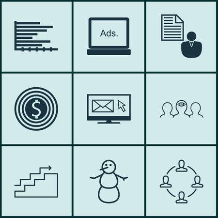 Ensemble de 9 icônes modifiables universelles. Peut être utilisé pour le Web, Mobile et App Design. Comprend des icônes telles que le coaching, l'objectif commercial, la newsletter et bien plus encore.