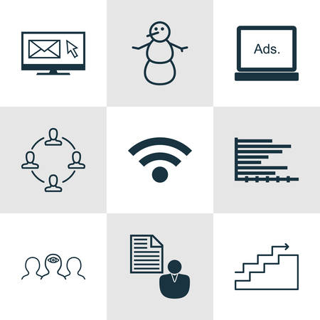 Set Of 9 Universal Editable Icons. Can Be Used For Web, Mobile And App Design. Includes Icons Such As Bars Chart, Coaching, Newsletter And More.