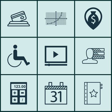 accessibility: Set Of 9 Universal Editable Icons. Can Be Used For Web, Mobile And App Design. Includes Icons Such As Financial, Warranty, Accessibility And More. Illustration