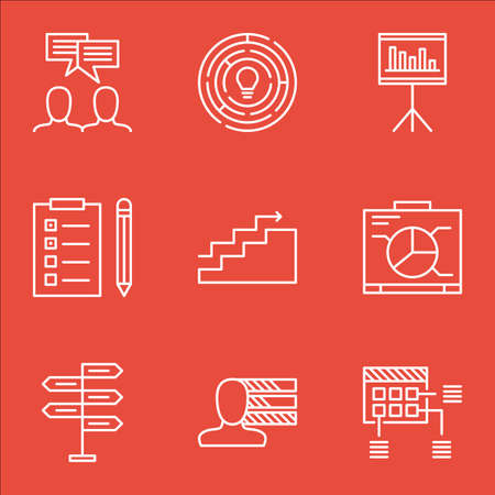 personality development: Set Of Project Management Icons On Presentation, Personal Skills And Growth Topics. Editable Vector Illustration. Includes Statistic, Personality And Task Vector Icons. Illustration