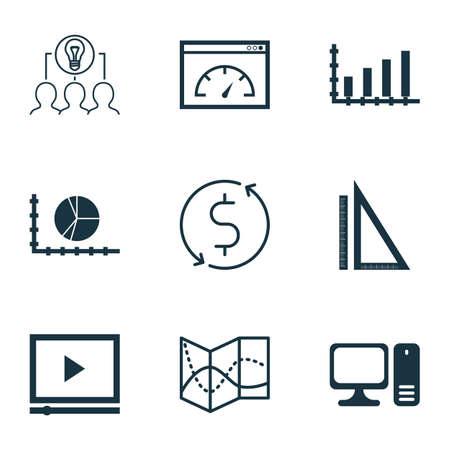 ganancias: Set Of 9 Universal Editable Icons. Can Be Used For Web, Mobile And App Design. Includes Icons Such As Dynamics, Road Map, Money Trasnfer And More.