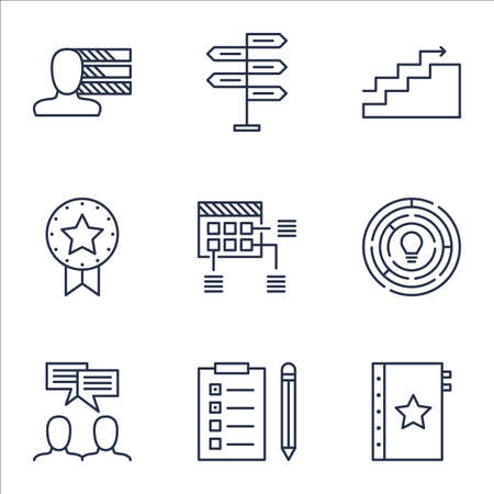 personality development: Set Of Project Management Icons On Opportunity, Growth And Reminder Topics. Editable Vector Illustration. Includes Badge, Goal And Team Vector Icons. Illustration