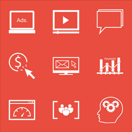 ppc: Set Of Advertising Icons On Conference, PPC And Loading Speed Topics. Editable Vector Illustration. Includes Digital, Marketing And Advertising Vector Icons.