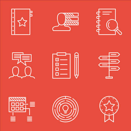 opportunity sign: Set Of Project Management Icons On Present Badge, Opportunity And Personal Skills Topics. Editable Vector Illustration. Includes Brainstorm, Management And Meeting Vector Icons. Illustration
