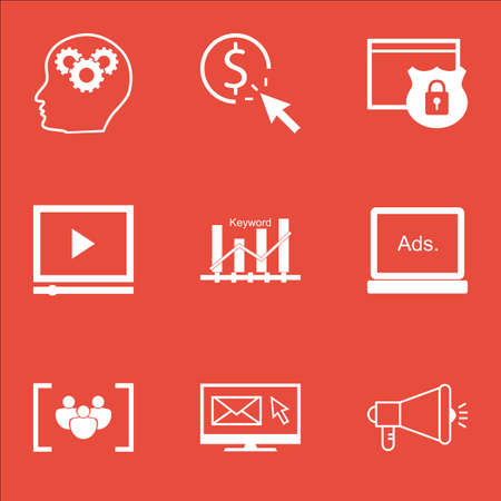 email security: Set Of SEO Icons On Questionnaire, Media Campaign And Brain Process Topics. Editable Vector Illustration. Includes Email, Security And Viral Vector Icons.