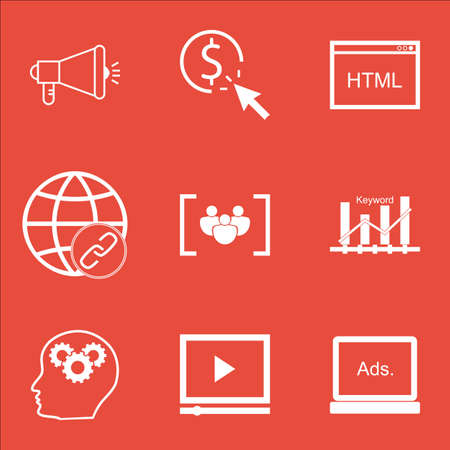 Set Of Marketing Icons On Questionnaire, PPC And Brain Process Topics. Editable Vector Illustration. Includes Digital, Plan And HTML Vector Icons.