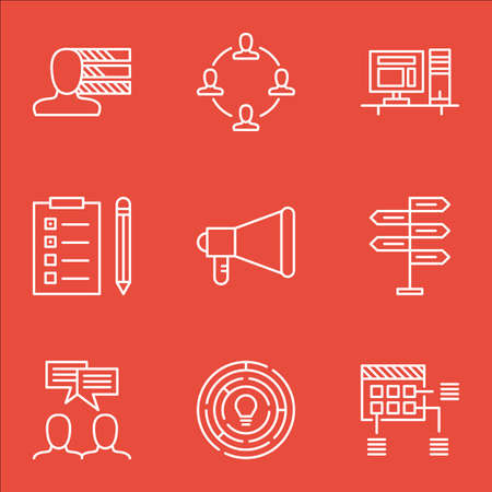 personality development: Set Of Project Management Icons On Schedule, Opportunity And Announcement Topics. Editable Vector Illustration. Includes Skills, Plan And Reminder Vector Icons. Illustration