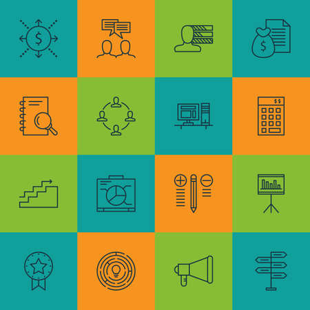 personality development: Set Of Project Management Icons On Innovation, Money And Announcement Topics. Editable Vector Illustration. Includes Discussion, Analysis And Decision Vector Icons. Illustration