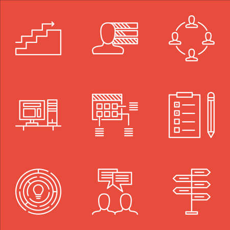 personality development: Set Of Project Management Icons On Personal Skills, Schedule And Discussion Topics. Editable Vector Illustration. Includes Making, Team And Reminder Vector Icons. Illustration