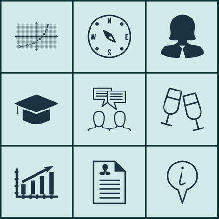 line up: Set Of 9 Universal Editable Icons. Can Be Used For Web, Mobile And App Design. Includes Icons Such As Champagne Glasses, Line Up, Profit Graph And More. Illustration