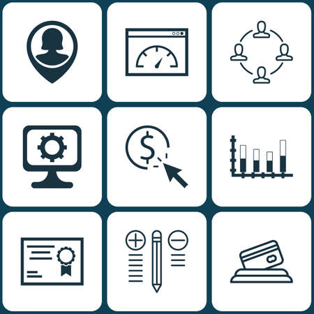 segmented: Set Of 9 Universal Editable Icons. Can Be Used For Web, Mobile And App Design. Includes Icons Such As Segmented Bar Graph, PC, PPC And More.