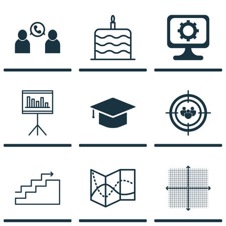 graphical chart: Set Of 9 Universal Editable Icons. Can Be Used For Web, Mobile And App Design. Includes Icons Such As Presentation, Growth, Celebration Cake And More. Illustration