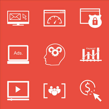 ppc: Set Of SEO Icons On PPC, Loading Speed And Newsletter Topics. Editable Vector Illustration. Includes Performance, Advertising And Video Vector Icons.